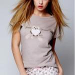 Dámské pyžamo Small Owl hnědá – Sensis