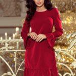 PARI – Dámské šaty v bordó barvě s volánky 226-2