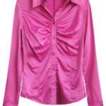 Saténová košile v amarantové barvě (X1065X)