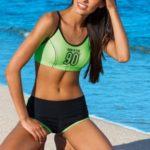 Sportovní dvoudílné zelené plavky Natasha