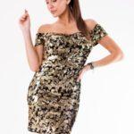 Zlaté šaty s flitry EVA&LOLA SUKIENKA 54005-2