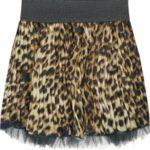 Hnědá plisovaná mini sukně s panteřím vzorem 1 (381ART)