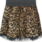 Hnědá plisovaná mini sukně s panteřím vzorem 2 (381ART)