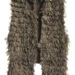 Hnědá svetrová vesta se střapci (X1620X)