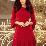 LUCY – Pohodlné dámské plisované šaty v bordó barvě 228-4
