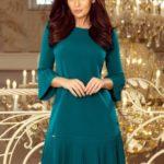 LUCY – Světle modré pohodlné dámské plisované šaty 228-5