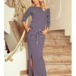 Numoco šaty dámské GEEN II dlouhé pruhované, maxi