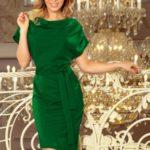ROXI – Zelené dámské šaty s asymetrickou spodní částí a páskem 240-1