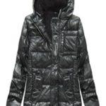Černá lesklá pánská zimní bunda s kožíškem (51034)