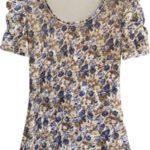 Dámská velurová květovaná halenka ve zlato-tmavě modré barvě (3682/1)