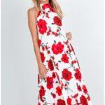 Dámské plisované šaty s květinovým motivem