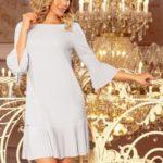 LUCY – Pohodlné plisované šedé dámské šaty 228-6