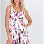Rozšířené dámské šaty s tulipánovým motivem