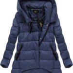 Tmavě modrá asymetrická zimní bunda (7150BIG)