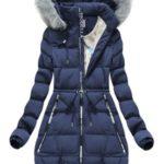 Tmavě modrá zimní bunda s potisky (2502)