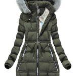 Zimní bunda v khaki barvě s potisky (2502)