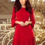 Červené pohodlné dámské plisované šaty model 7520041