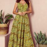CINDY – Dlouhé dámské šaty ve zlato-černé barvě s výstřihem 246-2