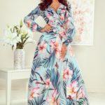 Dámské maxi šaty s volánkem, výstřihem a se vzorem růžových květů a listů 245-2