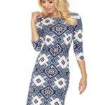 """Dámské šaty se zipy a velkým tmavě modrým vzorem """"romby"""" model 7763644"""