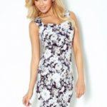 Dámské šaty v barvě ecru s hustým květinovým vzorem, výstřihem a vykrojením na zádech model 7763601