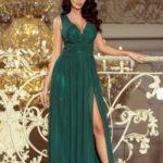 Dlouhé dámské šifonové maxi šaty v lahvově zelené barvě s rozparkem model 6476050