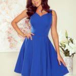 Rozšířené dámské šaty v chrpové barvě s výstřihem ve tvaru srdce 114-12