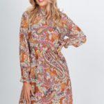 Vzorované dámské šaty se stojáčkem