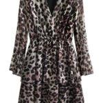 Béžové dámské šaty s přeloženým obálkovým výstřihem (454/2ART)