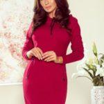 ELSA – Dámské šaty v bordó barvě s kapucí 260-1