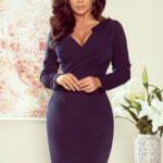 MIA – Tmavě modré dámské šaty s přeloženým obálkovým výstřihem 272-2