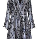 Šedé dámské šaty s přeloženým obálkovým výstřihem (454/1ART)
