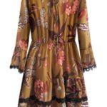 Šifonové šaty v hořčicové barvě s volánky (452ART)