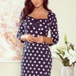 Tmavě modré dámské puntíkované šaty s výstřihem model 7817561