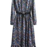 Tmavě modro-žluté dámské maxi šaty s volánkem (447ART)