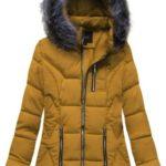 Žlutá prošívaná bunda s kapucí (B9901)
