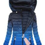 """Bunda ve stylu """"ombre"""" v chrpově-tmavě modré barvě s kapucí (W616BIG)"""