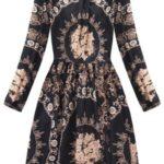 Černo-hnědé rozšířené dámské šaty se stájáčkem (168/1ART)