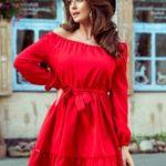 DAISY – Červené dámské šaty s volánky 265-4