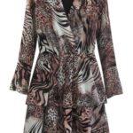 Hnědé dámské šaty s přeloženým obálkovým výstřihem (454/5ART)