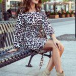 JENNY – Pohodlné dámské šaty s panteřím vzorem a se zavazováním v pase 275-3