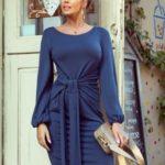 JENNY – Pohodlné dámské šaty v džínové barvě se zavazováním v pase 275-2