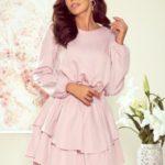 MATTIE – Dámské šaty ve špinavě růžové barvě s dvojitou spodní částí 289-1