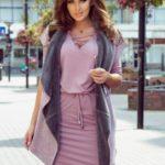 Oboustranná teplá růžovo-šedá dámská vesta 276-1