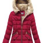 Prošívaná bunda v bordó barvě s kapucí (R1051)
