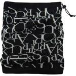 Černo-šedá komínová šála 2v1 s písmeny (2005)