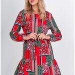 Dámské oversize šaty se vzorem a páskem