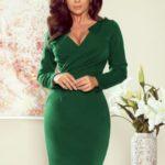 MIA – Dámské šaty v lahvově zelené barvě s přeloženým obálkovým výstřihem 272-3