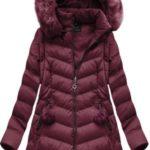 Zimní bunda ve vínové bordó barvě s odepínacími rukávy (W761BIG)