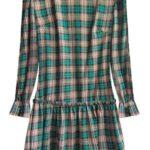 Zelené dámské šaty s větším károvaným vzorem (544ART)